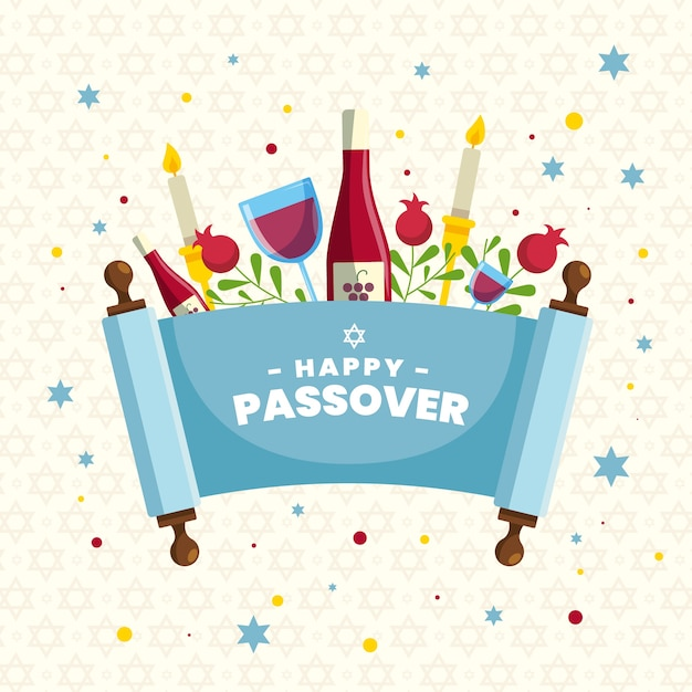 Flat design pesach event with wine Free Vector