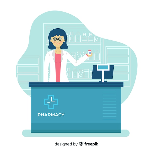 Flat design pharmacist at counter Free Vector