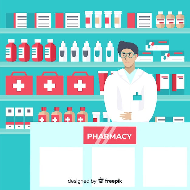 Flat design pharmacist greeting customers Free Vector
