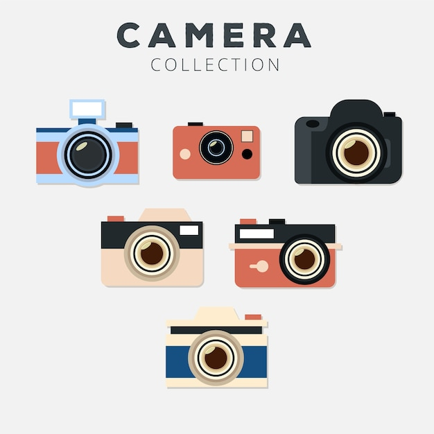 Flat design photo camera collection