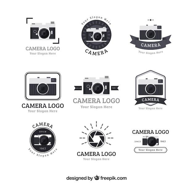 Flat design photo studio logo collection | Free Vector