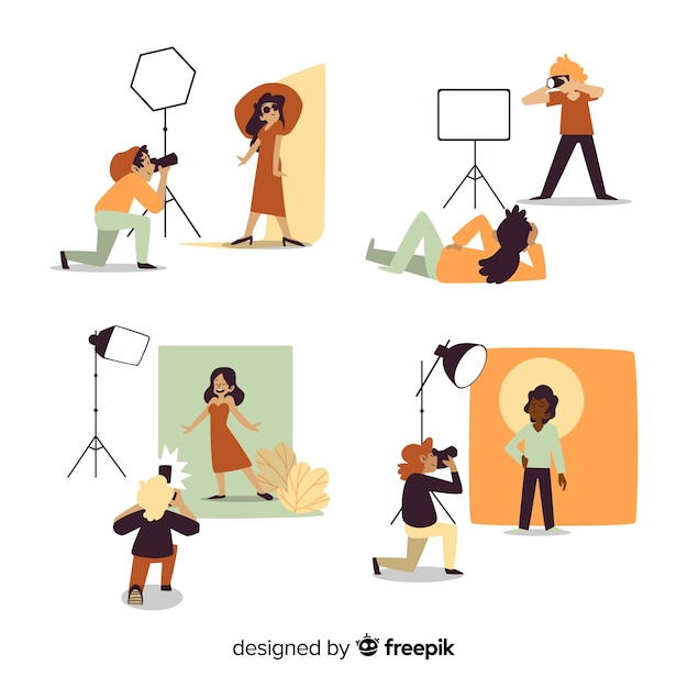 Flat design photographers taking pictures of models Free Vector