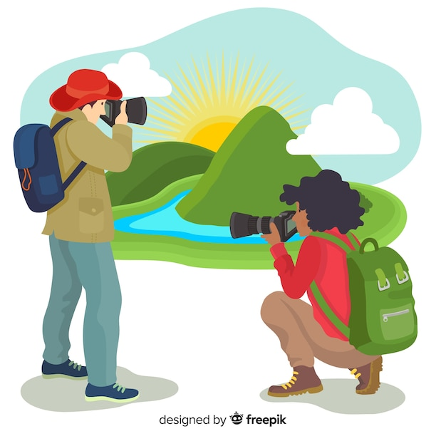 Flat design photographers taking pictures in nature Free Vector