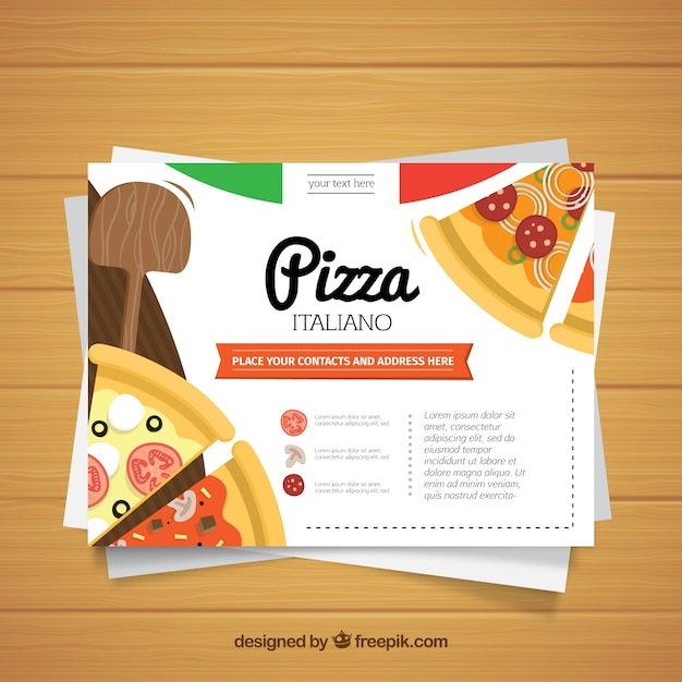 flat design pizza restaurant business card vector free