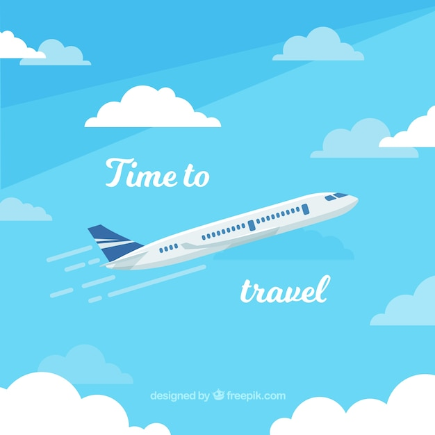 Flat design plane travel background Free Vector