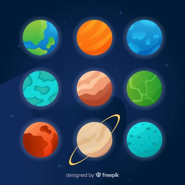 Flat design planet collection on dark background Free Vector