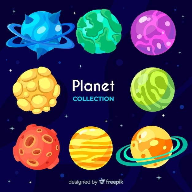 Flat design planet collection Free Vector