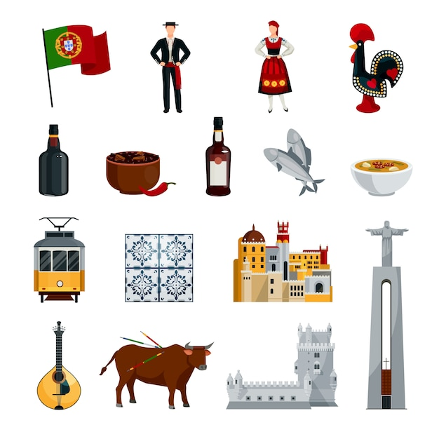 Flat design portugal icons set with national costumes symbols cuisine and attractions isolated Free Vector