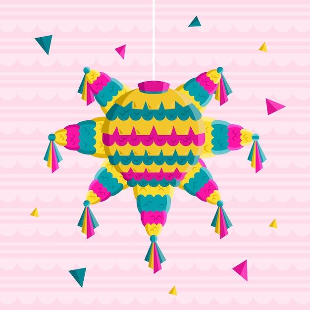 Design piatto posada piñata illustrazione Vettore gratuito