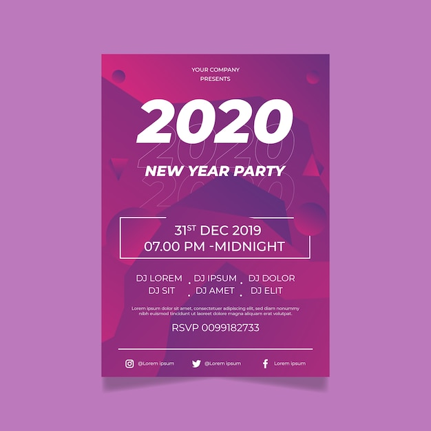 Flat design poster template design new year 2020 party Free Vector