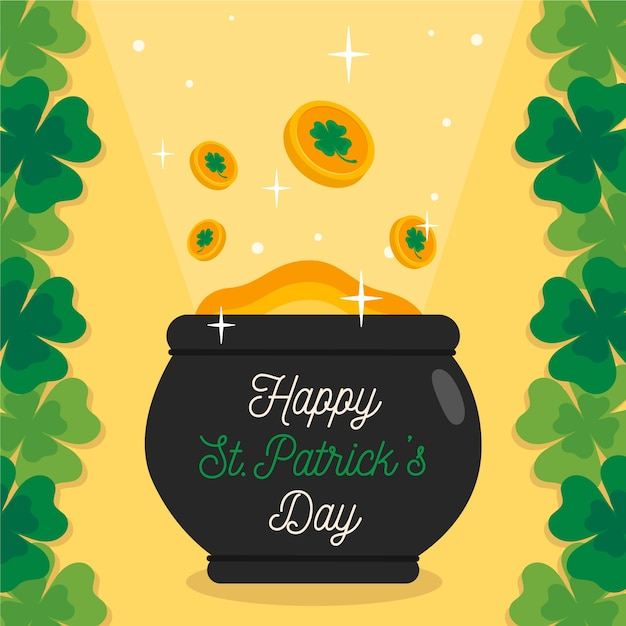 Flat design of pot with coins theme for st. patricks day Free Vector