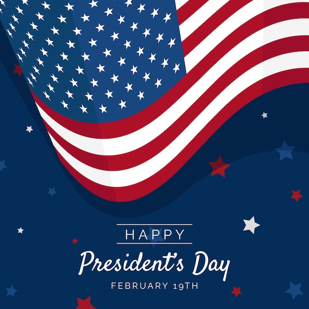 Flat design president's day with american flag Free Vector
