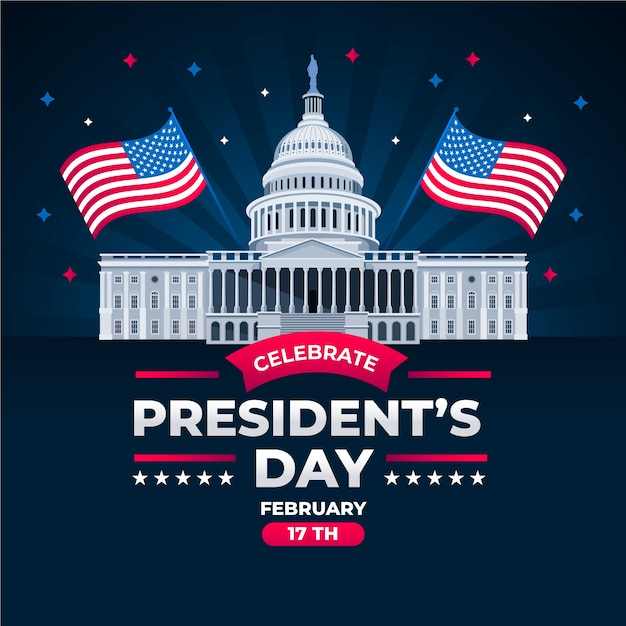 Flat design presidents day event theme Free Vector