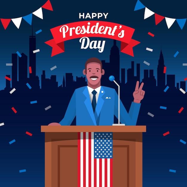 День президентов в плоском дизайне Бесплатные векторы