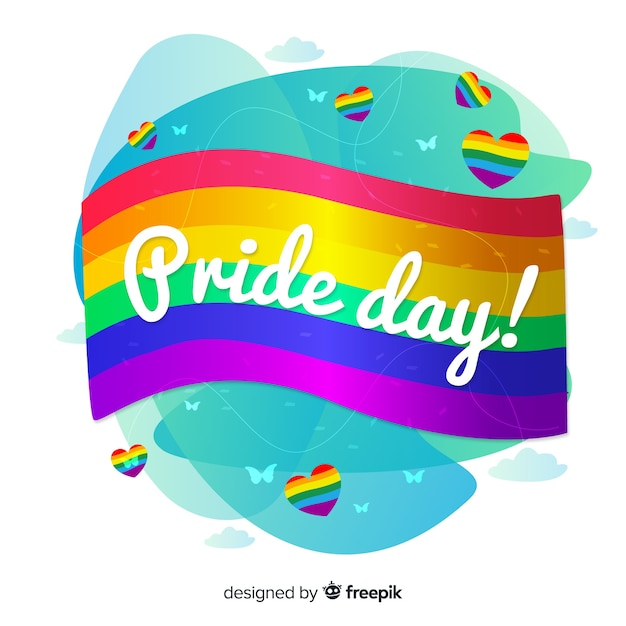 Flat design pride day background Free Vector