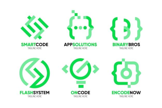 Flat design programming company logo templates pack Free Vector