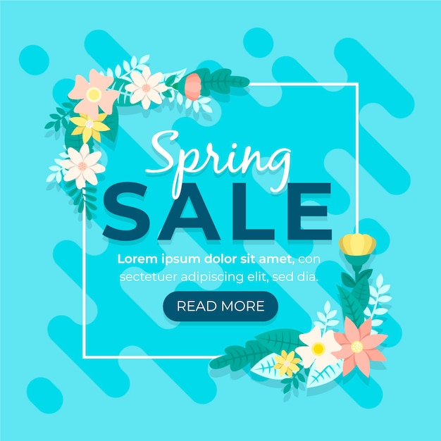 Flat design promotional spring sale concept Free Vector