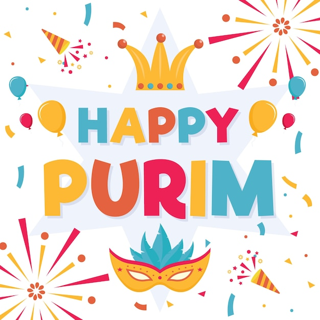 Flat design purim day with fireworks Free Vector