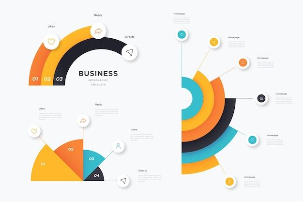 Плоский дизайн радиальной инфографики Бесплатные векторы