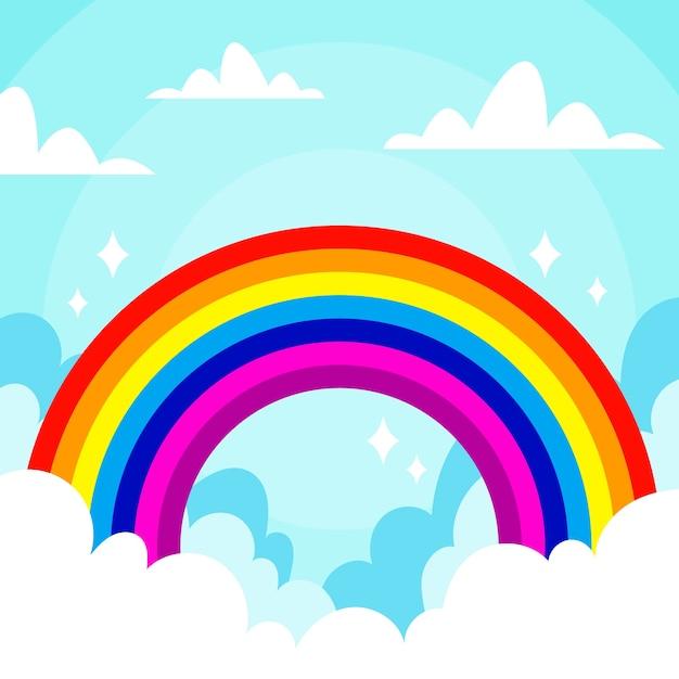 Flat design rainbow concept Free Vector