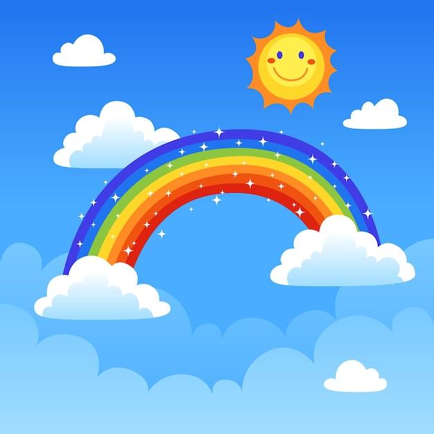 Плоский дизайн радуги Бесплатные векторы