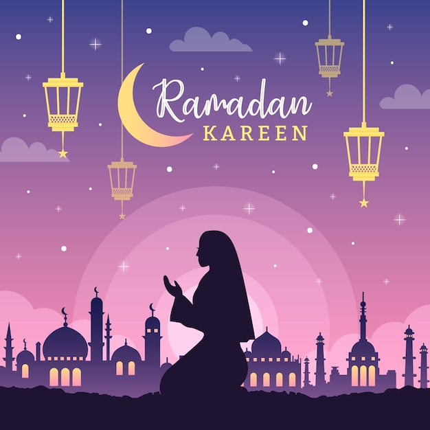 Flat design ramadan event Free Vector