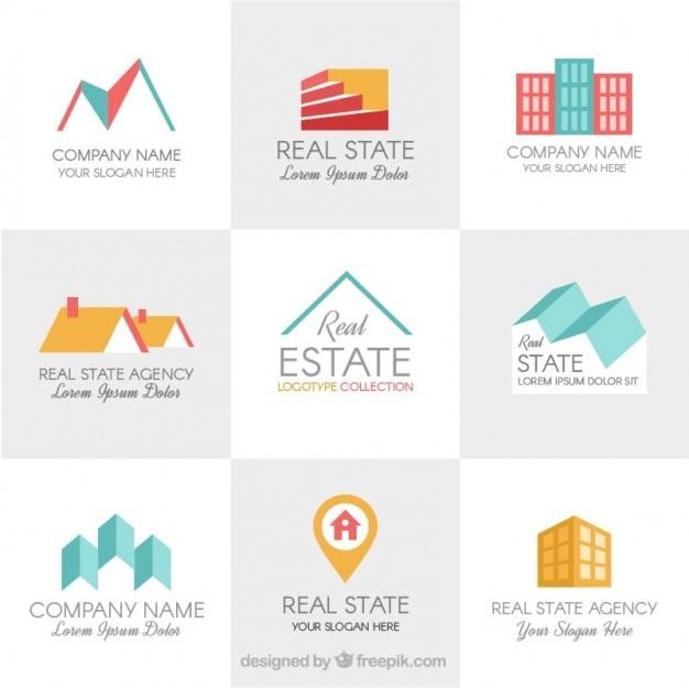 Flat design real state logo templates
