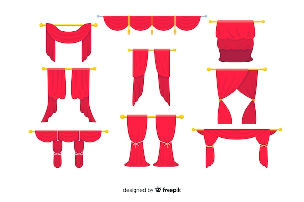 Flat design red curtain collection Free Vector
