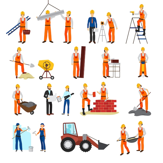 Flat design repairs construction process builders and equipment set isolated on white background vec Free Vector
