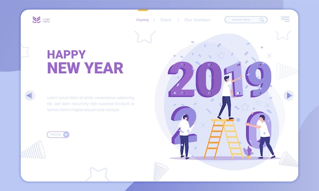 Flat design replace 2019 to 2020, new year theme on landing page Premium Vector