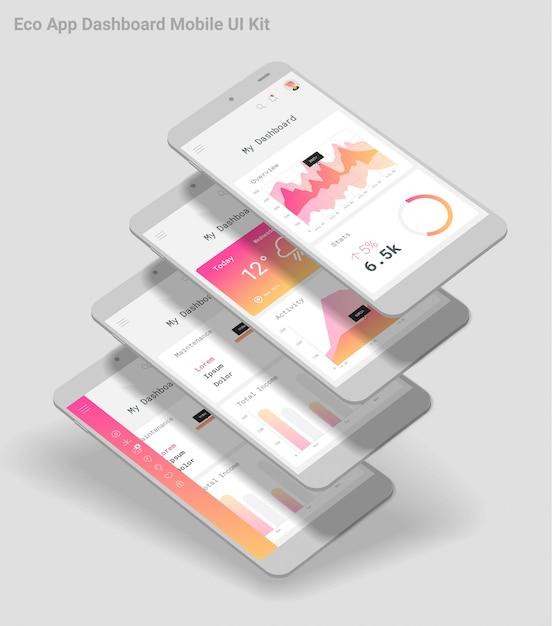 Flat design responsive admin dashboard ui mobile app with 3d mockups Premium Vector