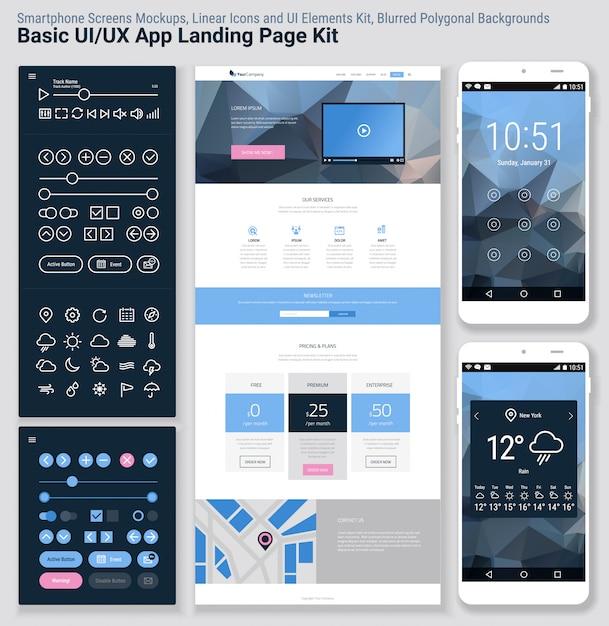 Flat design responsive pixel perfect ui mobile app and website template Premium Vector