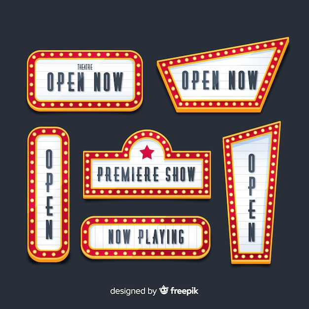 Flat design retro theater signs collection Free Vector