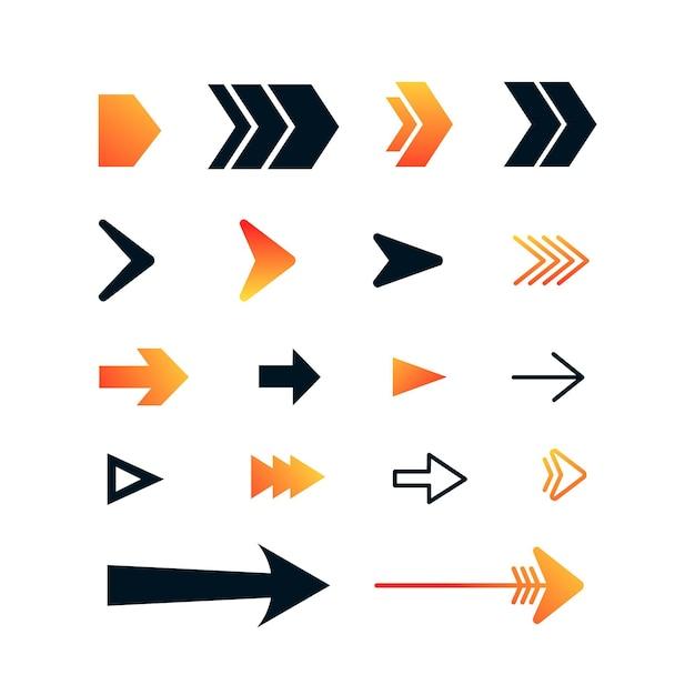Collezione di freccia destra design piatto Vettore gratuito