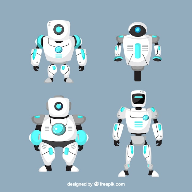 Flat design robot character collection Free Vector
