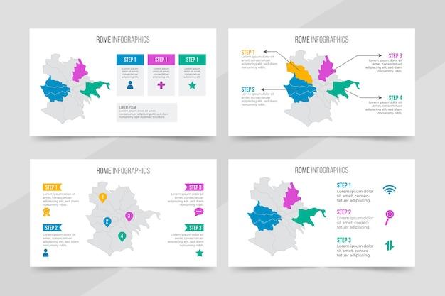 Flat design rome map infographics Free Vector