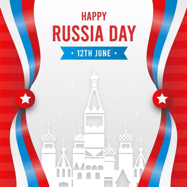 フラットなデザインのロシアの日と都市 Premiumベクター