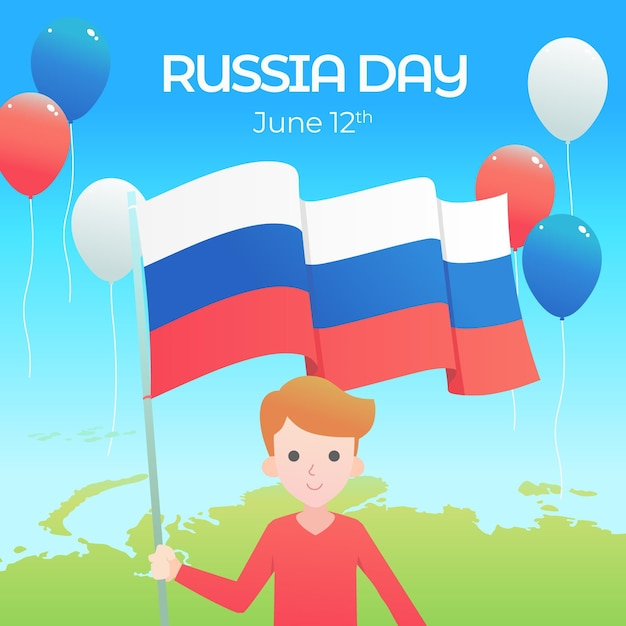 Плоский дизайн россия день иллюстрация Бесплатные векторы