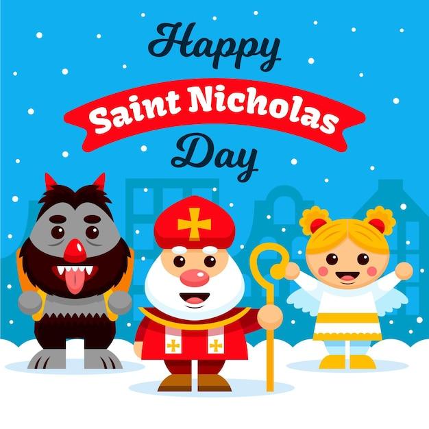 フラットデザイン聖ニコラスの日のコンセプト 無料ベクター