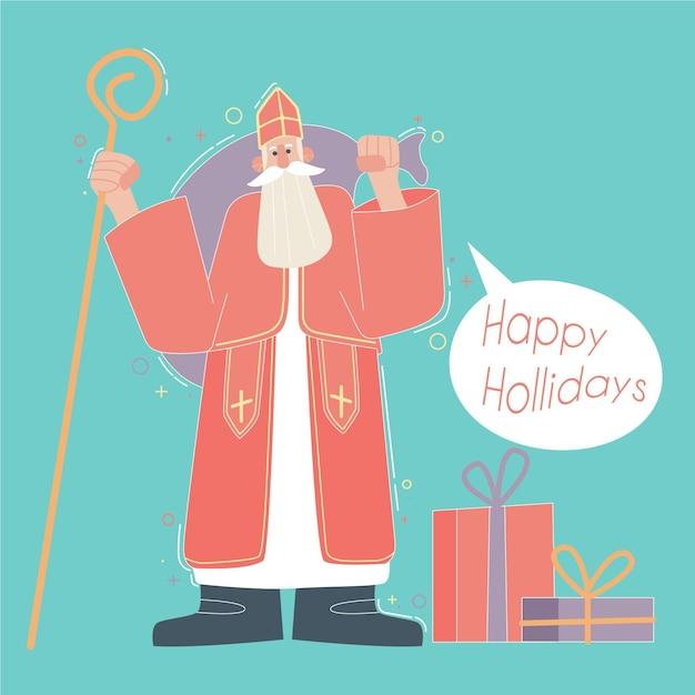 フラットデザインの聖ニコラスの日 無料ベクター