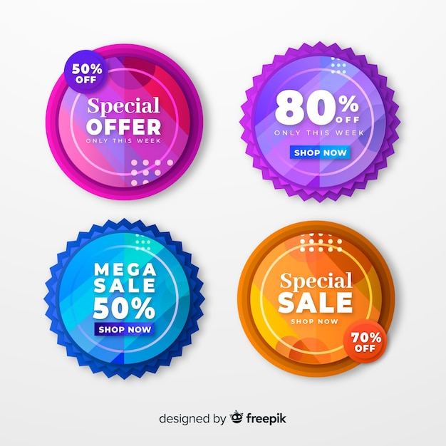 Flat design sale label collection Free Vector