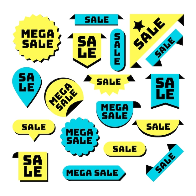 Flat design sales label collection Free Vector