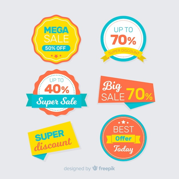 Flat design sales labels collection Free Vector