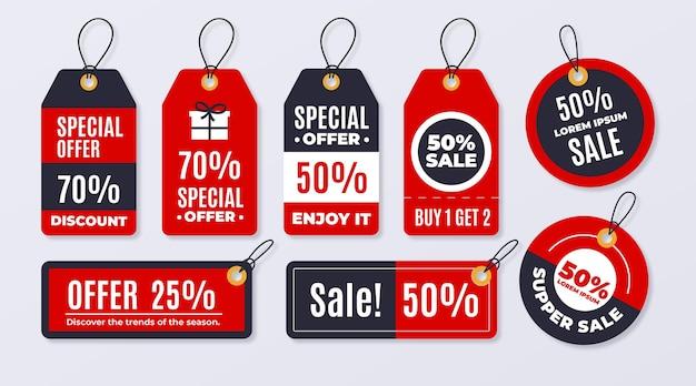 평면 디자인 판매 태그 팩 무료 벡터