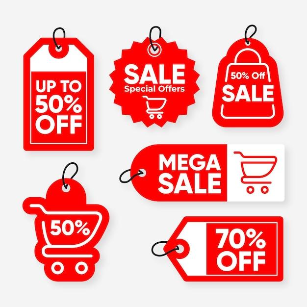 Set di tag di vendita design piatto Vettore gratuito