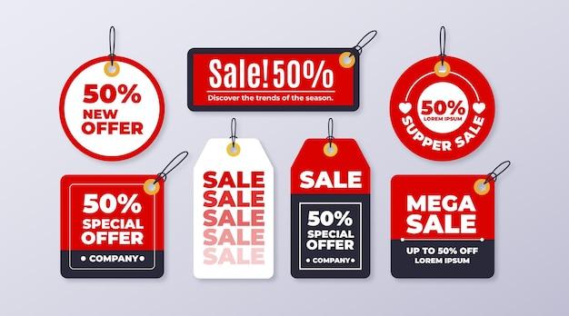 평면 디자인 판매 태그 세트 무료 벡터