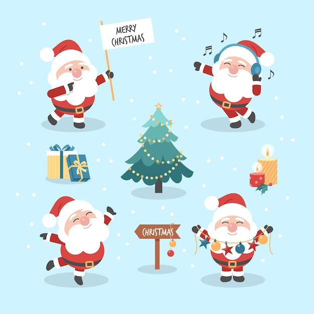 Flat design santa claus character collection Free Vector