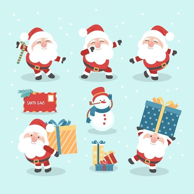 Flat design santa claus character collection Premium Vector