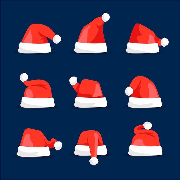 Flat design santa claus hat collection Free Vector