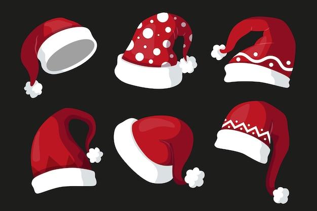 Flat design santa claus hat collection Premium Vector